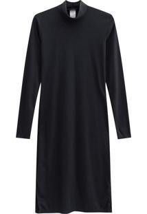 Vestido Lecimar Em Punho Listrado Outono Inverno Manga Longa Preto 2 - Tricae