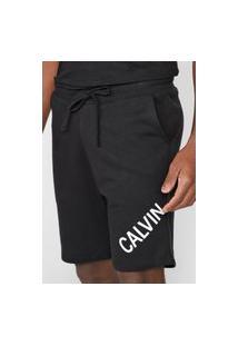 Bermuda Calvin Klein Jeans Reta Lettering Preta