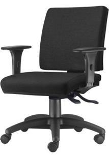 Cadeira Simple Com Braco Em Courino Assento Courino Preto Base Nylon Arcada - 54922 - Sun House