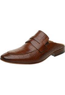 Sapato Masculino Slipper Mule Malbork Em Couro Cor Caramelo 5846 Marrom Amarelado