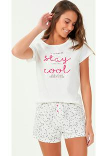Pijama Manga Curta Off White