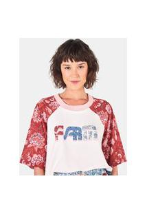 Camiseta Farm Raglan Silk Patch Urucum