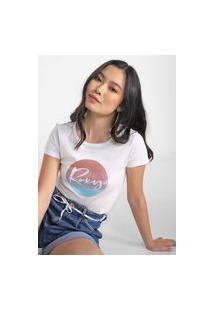 Camiseta Roxy Circle Gradient Branca