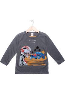 Camiseta Infantil Manga Longa Boca Grande Menino Cinza Escuro - 4