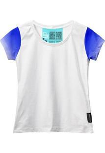 Camiseta Baby Look Feminina Algodão Estampa Estilo Leve Moda - Feminino-Branco+Azul