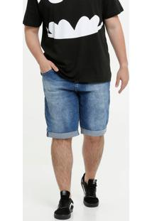 Bermuda Masculina Jeans Barra Dobrada Plus Size Biotipo