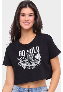 Camiseta Sommer Cropped Go Will Feminina - Feminino-Preto
