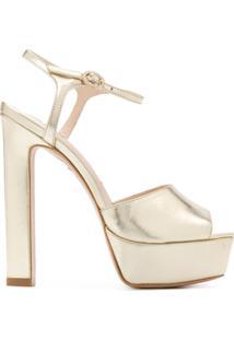 Sophia Webster Sandália Plataforma Peep Toe - Dourado