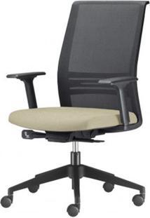Cadeira Agile Presidente Assento Crepe Bege Base Nylon Piramidal E Rodizio Em Nylon - 55685 Sun House