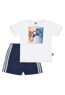 Pijama Branco - Primeiros Passos Menino Meia Malha 42657-3 Pijama Branco-Primeiros Passos Menino Meia Malha Ref:42657-3-3