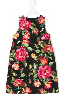 Dolce   Gabbana Kids Vestido Brocado De Rosas - Preto 1a18ff9e2f