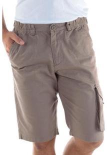 Bermuda Sarja Regular Com Elástico Traymon Masculina - Masculino-Kaki