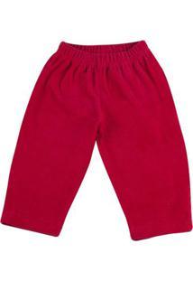 Calça Bebê De Malha Plush Cotelê - Vermelho P