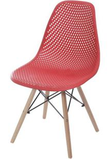 Cadeira Eames Furadinha Cor Vermelho Com Base Madeira - 55983 - Sun House