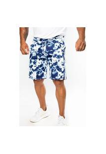 Bermuda Short Moletom Tie Dye Premium Branco/Azul