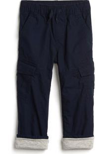 Calça Gap Infantil Cargo Color Azul-Marinho