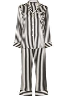 Olivia Von Halle Conjunto De Pijama Lila Com Listras - Preto