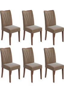 Conjunto Com 6 Cadeiras Apogeu L Imbuia E Bege