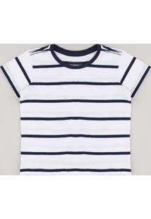 Camiseta Infantil Listrada Manga Curta Branca