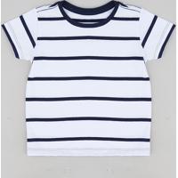 d8e4fedf784 Camiseta Infantil Listrada Manga Curta Gola Careca Branca