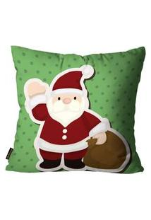 Capa Para Almofada Mdecore Natal Papai Noel Verde 45X45Cm