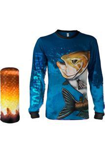 Camisa Pesca Quisty Tambaqui Azul Proteção Uv Dryfit Infantil/Adulto - Kanui