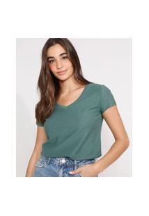 Camiseta Flamê De Algodão Básica Manga Curta Decote V Verde Militar