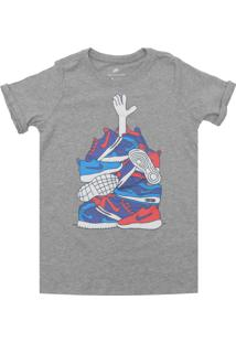 Camiseta Nike Menina Estampado Cinza