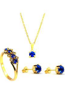 Kit Horus Import Gargantilha Brincos Anel Azul Safira Banhado Ouro Amarelo 18K
