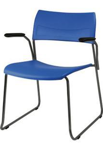 Cadeira Nina Com Bracos Assento Azul Base Fixa Preta - 54767 Sun House