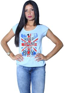 Camiseta Heide Ribeiro Keep Calm It'S A Boy Azul Claro