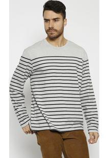 Camiseta Mescla Listrada - Cinza & Pretalevis