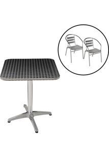 Conjunto Mesa Com 2 Cadeiras Em Alumínio Para Jardim - Mor