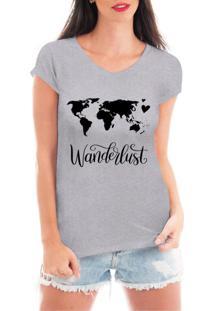 Camiseta Criativa Urbana Wanderlust Viagem Cinza - Tricae