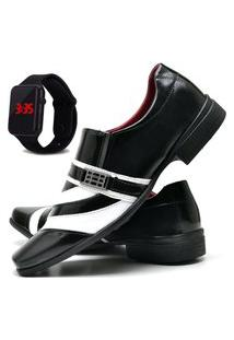 Sapato Social Masculino Com Verniz Asgard Com Relógio Led Db 632Lbm Preto