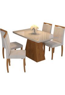 Conjunto De 4 Cadeiras Para Sala De Jantar 130X90-Cimol - Savana / Off White / Madeira / Aspen