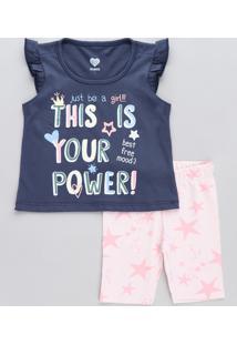 Conjunto Infantil De Regata Com Babado Azul Marinho + Bermuda Estampada De Estrelas Rosa Claro