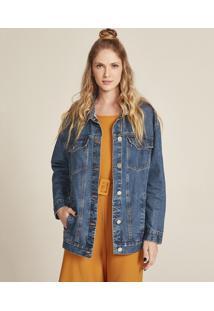 Jaqueta Jeans Feminina Com Bolsos Azul Médio