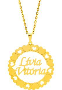 Gargantilha Mandala Horus Import Manuscrito Lívia Vitória Banho Ouro Amarelo 18 K - 1060200
