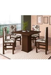 Conjunto De Mesa Com 4 Cadeiras Sirius Tabaco E Floral