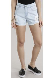 Short Jeans Destroyed Azul Claro