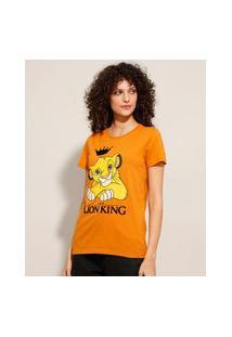 Camiseta De Algodão Simba O Rei Leão Manga Curta Decote Redondo Mostarda