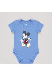 Body Infantil Mickey Manga Curta Azul