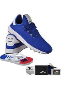 da8c20603cc Kit Tênis Polo Joy + Carteira Chinelo Cinto E Meia - Masculino-Azul