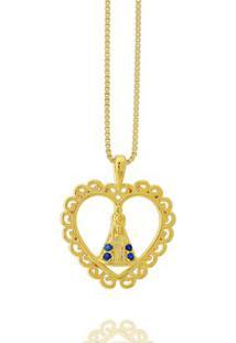 Colar Coração Nossa Senhora Zircônia Safira Semi Joia - Feminino-Dourado