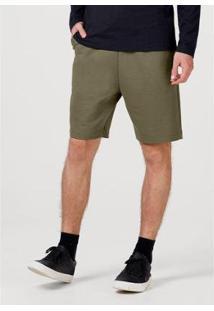 Bermuda Moletom Básica Com Amarração Masculina - Masculino-Verde Escuro