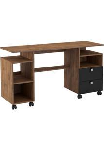 Mesa Para Computador Magno Cor Nobre Com Preto Brilho - 20690 - Sun House
