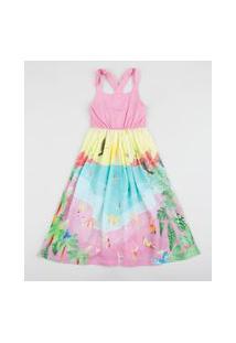Vestido Infantil Estampado Praia Alça Média Rosa