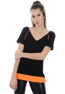 Camiseta Manga Curta Pinyx Shine Preto E Laranja