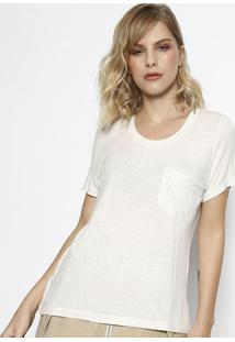Camiseta Boton㪠Com Bolso- Bege Claro- Max Glammmax Glamm